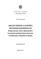 prikaz prve stranice dokumenta Analiza odnosa s javnošću Švicarske Konfederacije - Studija slučaja: analiza diplomatskih i konzularnih predstavništava Švicarske Konfederacije u Republici Hrvatskoj
