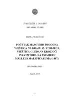 prikaz prve stranice dokumenta Početak masovnih progona vještica na kraju 15. stoljeća gledana kroz oči inkvizitora na primjeru Malleus Maleficaruma (1487.)