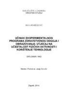 prikaz prve stranice dokumenta Učinak eksperimentalnog programa zdravstvenog odgoja i obrazovanja: Utjecaj na učestalost fizičkih aktivnosti i korištenja tehnologije