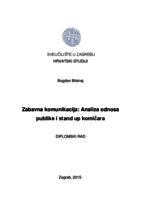 prikaz prve stranice dokumenta Zabavna komunikacija: analiza odnosa publike i stand up komičara