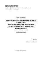 prikaz prve stranice dokumenta Akutni učinci primjene kinezi traka na živčano-mišićne funkcije zdravih osoba: pregled literature