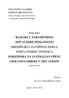 prikaz prve stranice dokumenta Razlike u parametrima situacijske efikasnosti središnjeg i završnog dijela poena između tenisača pobjednika na Australian Openu i Roland Garrosu u 2015 godini