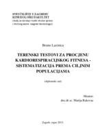 prikaz prve stranice dokumenta Terenski testovi za procjenu kardiorespiracijskog fitnesa: sistematizacija prema ciljnim populacijama