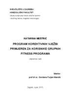 prikaz prve stranice dokumenta Program korektivnih vježbi primjeren za korisnike grupnih fitness programa