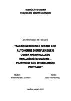 prikaz prve stranice dokumenta Zadaci medicinske sestre kod autonomne disrefleksije u osoba nakon ozljede kralješnične moždine-pojavnost kod urodinamske pretrage