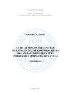 prikaz prve stranice dokumenta Utjecaj poslovanja unutar multinacionalne korporacije na organizacijsku strukturu podružnica (primjer Coca Cola)