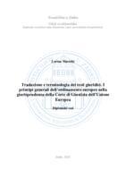 prikaz prve stranice dokumenta Traduzione e terminologia dei testi giuridici. I principi generali dell'ordinamento europeo nella giurisprudenza della Corte di Giustizia dell'Unione Europea